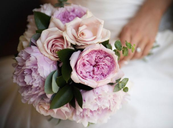 Pink roses and peonies bridal bouquet