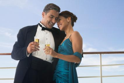 Couple in formal attire on ship