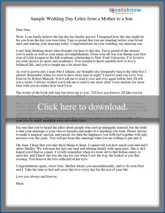 Sample Wedding Day Letter from a Mother to a Son | LoveToKnow