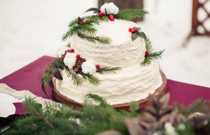 elegant pine Christmas cake