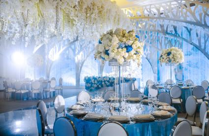 beautiful blue table settings at reception