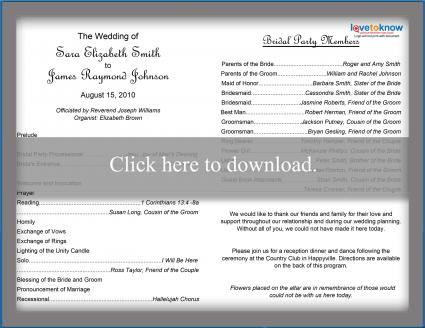 photograph relating to Free Printable Wedding Program Templates referred to as Cost-free Wedding day Software package Templates LoveToKnow