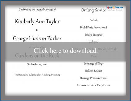 free wedding program templates lovetoknow