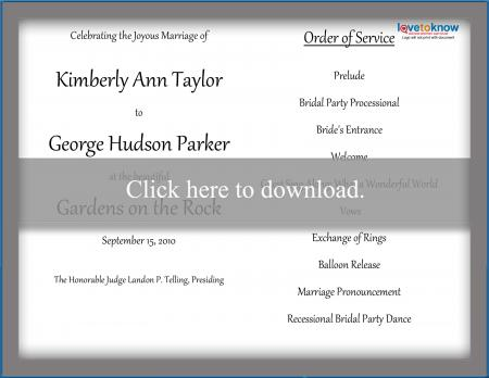 Order Of Service For A Wedding Ceremony Lovetoknow