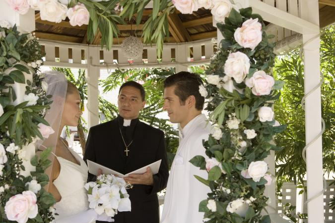 wedding in decorated gazebo