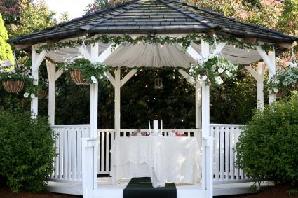 gazebo with hanging baskets