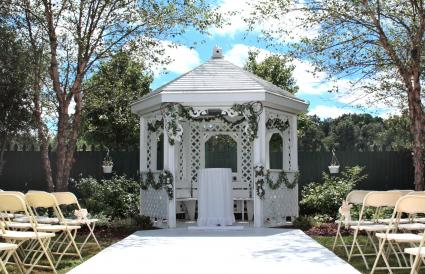 gazebo with garland