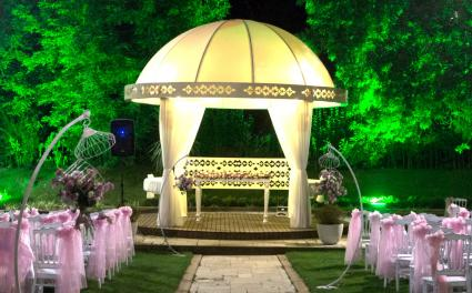 dome gazebo at night