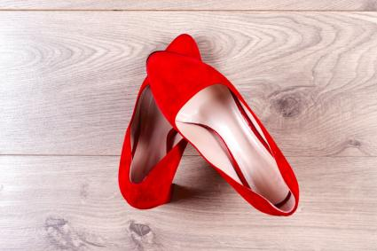 red pointed toe flat shoes