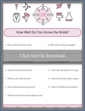 click to print the bridal shower game