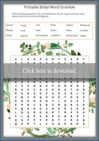 graphic relating to Free Printable Bridal Shower Games Word Scramble named Cost-free Printable Bridal Shower Online games LoveToKnow