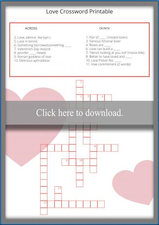 Love Crossword Printable