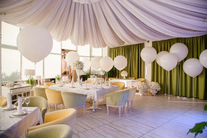 wedding reception with white balloon decorations