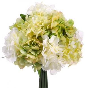Green and cream silk hydrangea bouquet