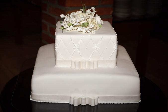 two tier white square wedding cake
