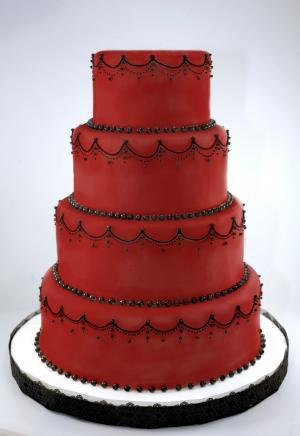 crimson gothic wedding cake