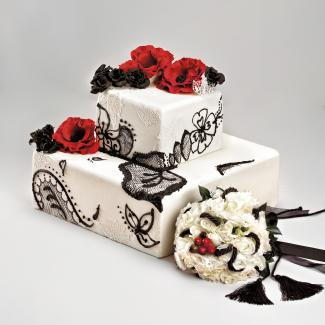 black, red, and white cake