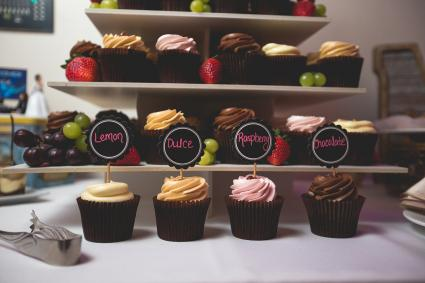 Tiered display of flavored cupcakes