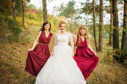 Bride with bridesmaids on red dresses at autumn pine wood