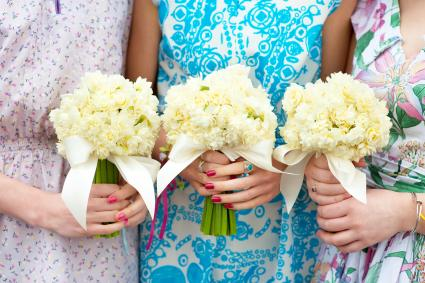 Bouquets held by bridesmaids