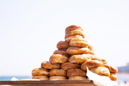 Stacked Donuts In Tray Against Clear Sky
