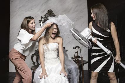 bride having meltdown during preparations
