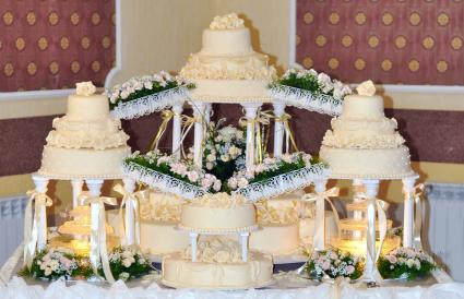 cake with stairs and fountains