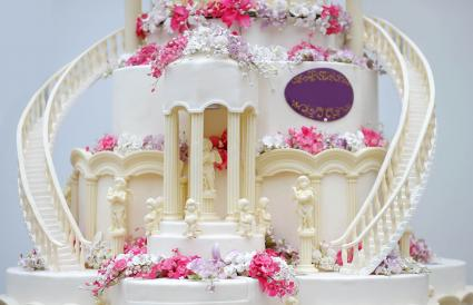 side stairs on tiered cake