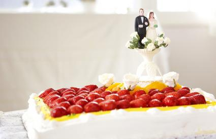 Fruit topped wedding cake
