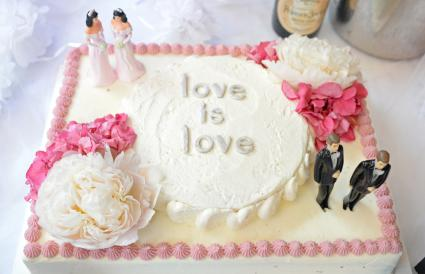 Love is love wedding cake