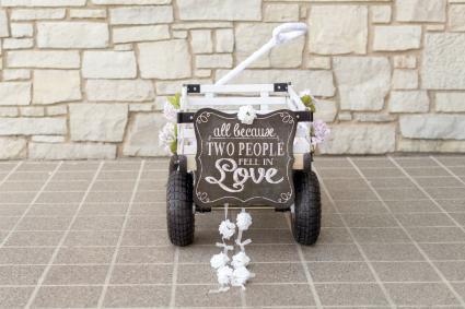 Wedding wagon with chalkboard sign