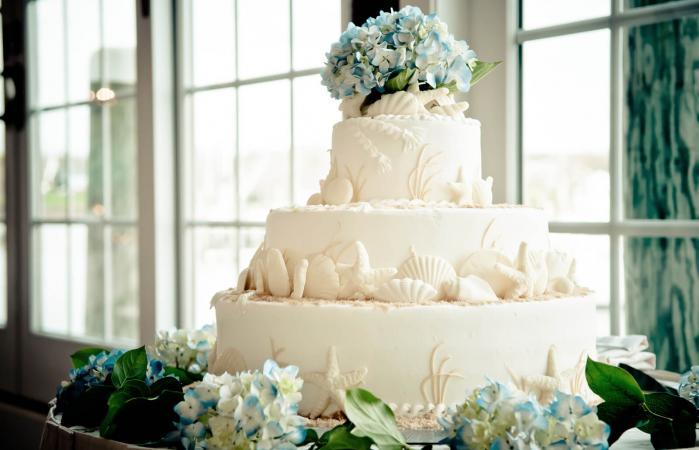 Tiered seashell wedding cake with hydrangeas