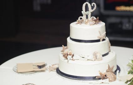 Sailor and sea themed wedding cake