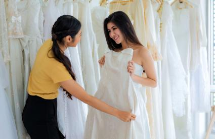 Woman choosing wedding dress