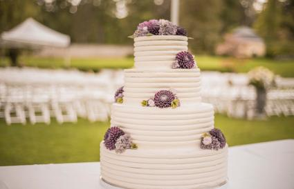Simple outdoor wedding cake