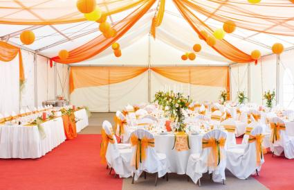 Carnival themed wedding hall