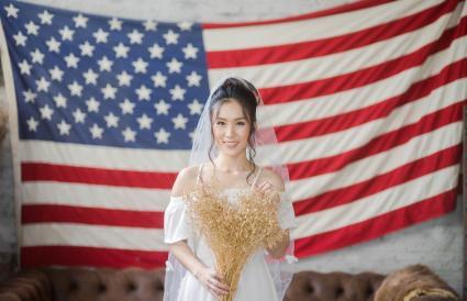 Bride Against American Flag