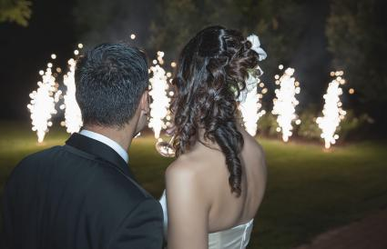 Newlyweds looking fireworks