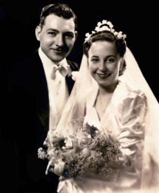 bride and groom in 1940's
