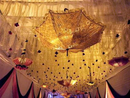 Wedding decoration with parasols