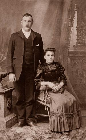 Portrait of a victorian man and his wife