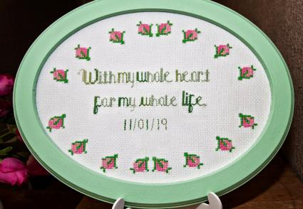Framed embroidered wedding message gift