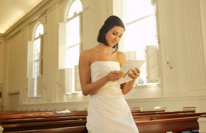 Bride reading poem