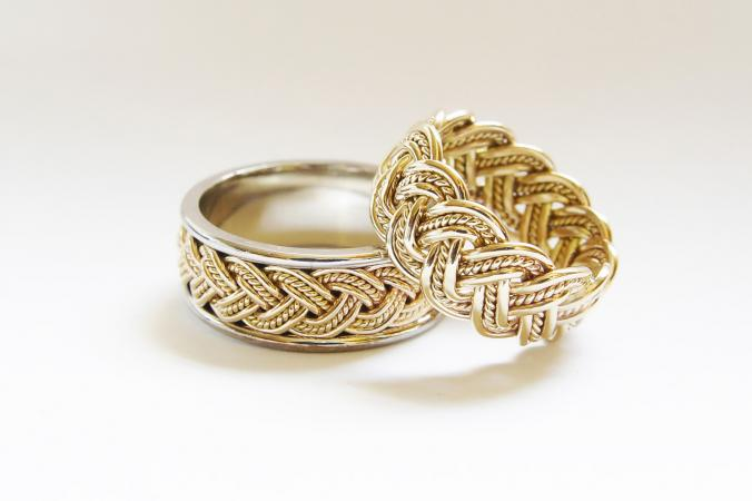 gold basket weave wedding rings