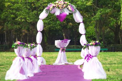 Beautiful flowers wedding arch.
