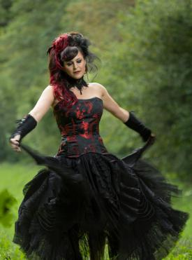Red and black Goth dress