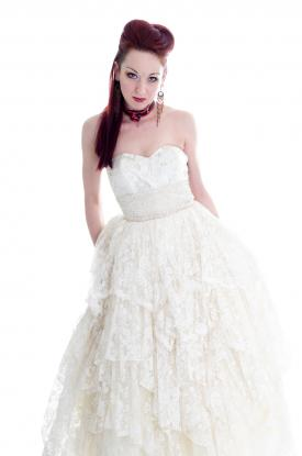 White Victorian Goth Wedding Dress