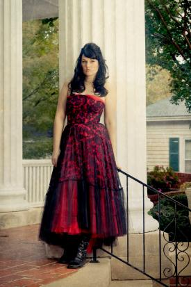 Red Gothic dress with black overlay
