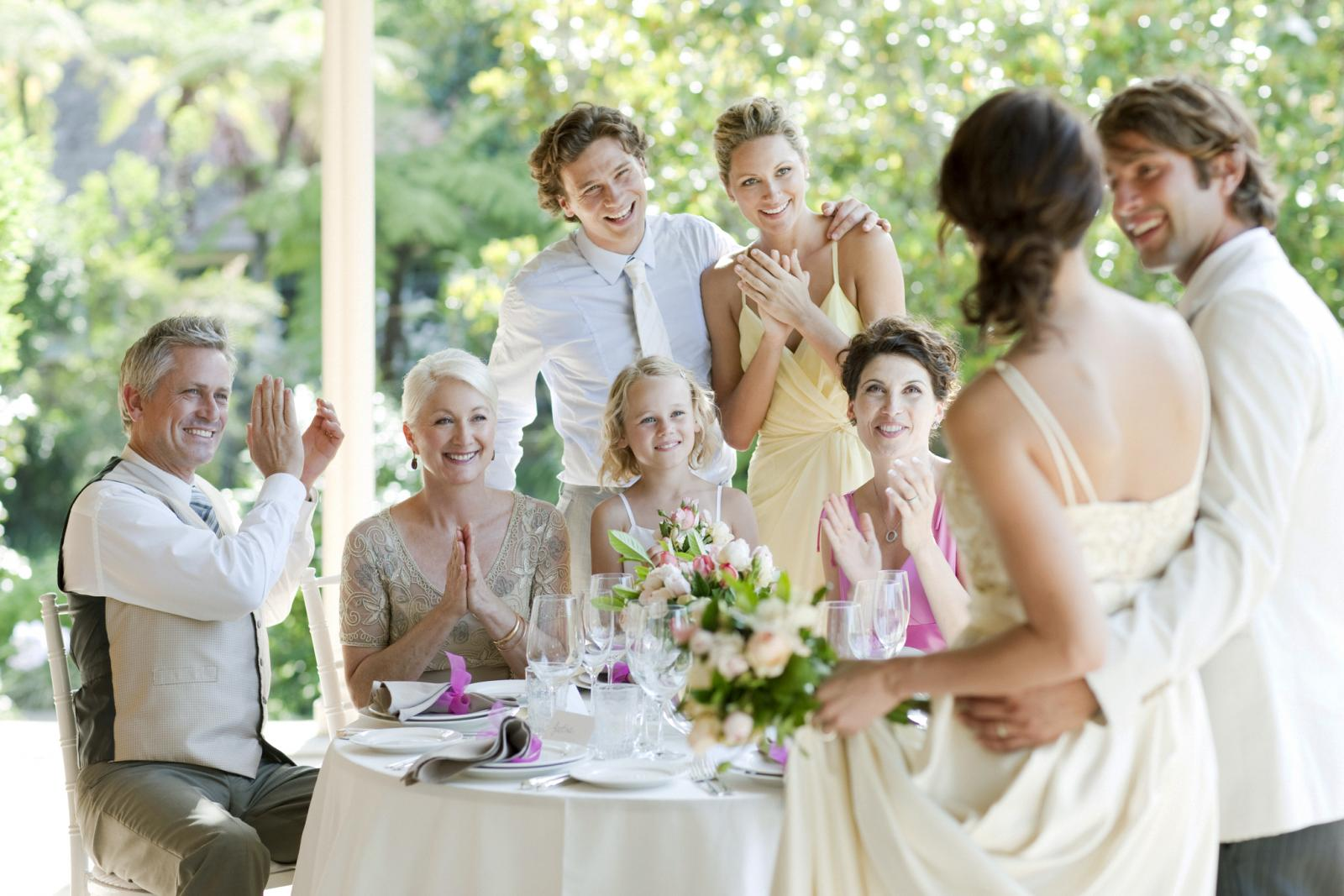 Guests celebrating at wedding reception