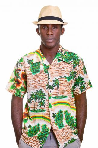Man wearing a safari shirt and a hat